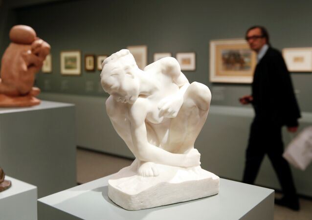 The marble sculpture Crouching Woman (1882) of French artist Auguste Rodin is seen during a media preview of the Gurlitt: Status Report - Nazi Art Theft and its Consequences exhibition at the Bundeskunsthalle in Bonn, Germany, November 2, 2017.