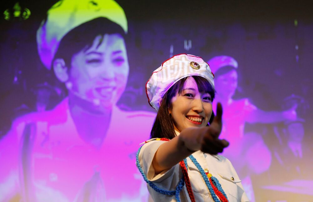 Chunhun, the leader of Japan's North Korea fan club called sengun-joshi, or military-first girls, attends a rehearsal of a Moranbong Band dance before a North Korea fan event in Tokyo, Japan October 29, 2017