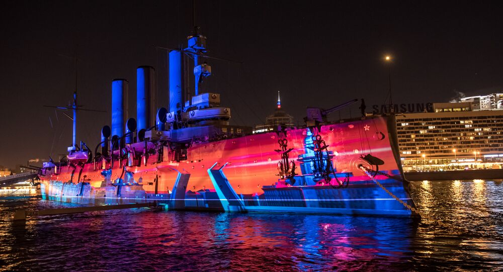 General rehearsal of the Festival of Lights, devoted to the October 1917 Revolution, by Cruiser Aurora in St. Petersburg