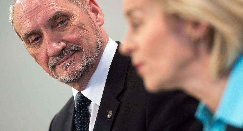 (File) German Defence Minister Ursula von der Leyen (R) and her Polish counterpart Antoni Macierewicz give a joint press conference following a meeting on January 28, 2016 in Berlin