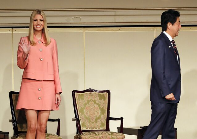 Ivanka Trump, left, adviser to and daughter of U.S. President Donald Trump, and Japan's Prime Minister Shinzo Abe attend a meeting of the World Assembly for Women (WAW!) in Tokyo Friday, Nov. 3, 2017.