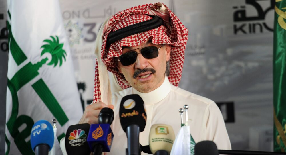 This file photo taken on May 11, 2017 shows Saudi Prince Alwaleed bin Talal speaking during a press conference in the Red Sea city of Jeddah. Shares of arrested Saudi billionaire Prince Al-Waleed's Kingdom Holding slide 9.9% on November 5, 2017