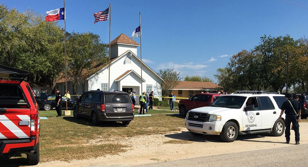 Emergency personnel respond to a fatal shooting at a Baptist church in Sutherland Springs, Texas, Sunday, Nov. 5, 2017. (