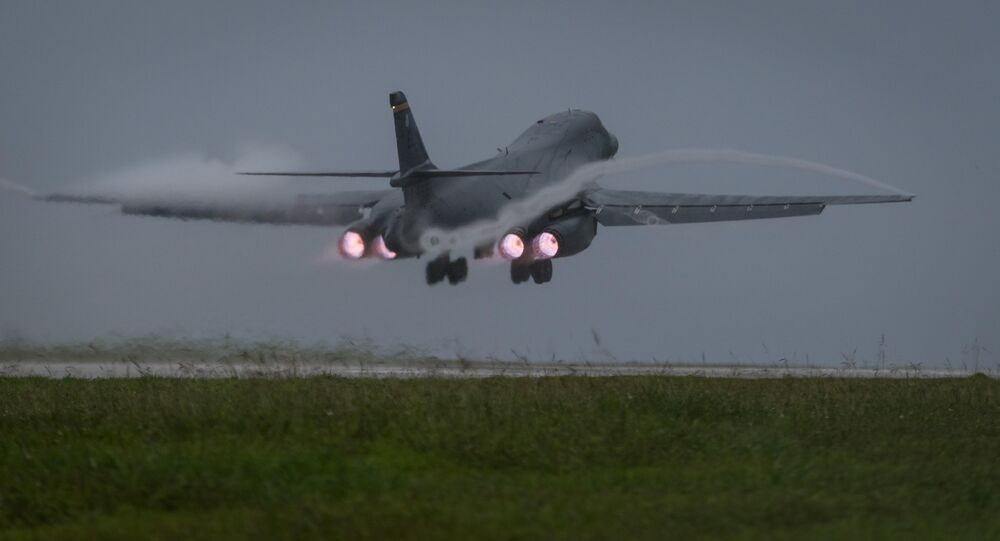 U.S. Air Force B-1B Lancer bomber assigned to 37th Expeditionary Bomb Squadron, deployed from Ellsworth Air Force Base, South Dakota, takes off from Andersen Air Force Base, Guam, to fly a mission with two Koku Jieitai (Japan Air Self-Defense Force) F-15s, Sept. 9, 2017