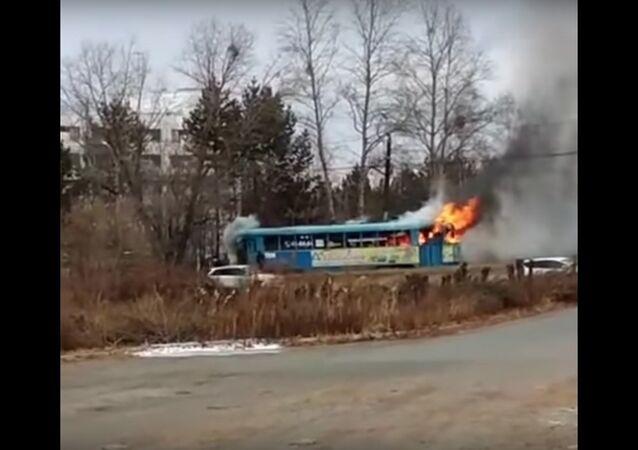 Горящий трамвай в Хабаровске