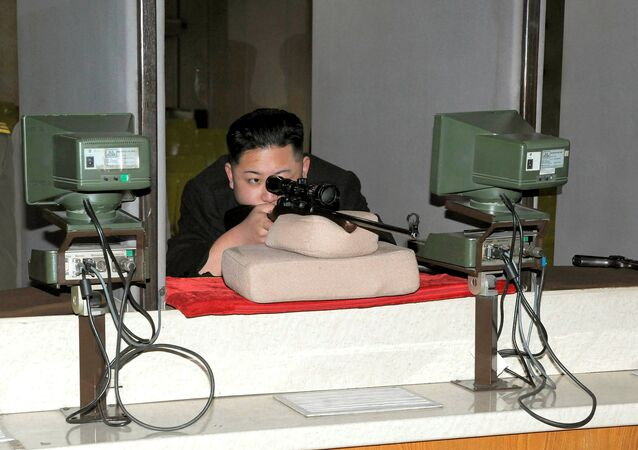 North Korean leader Kim Jong-Un aims a rifle at the Sporting Bullet Factory (File)