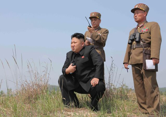 North Korean leader Kim Jong Un (C) guides the multiple-rocket launching drill of women's sub-units under KPA Unit 851, in this undated photo released by North Korea's Korean Central News Agency (KCNA) April 24, 2014