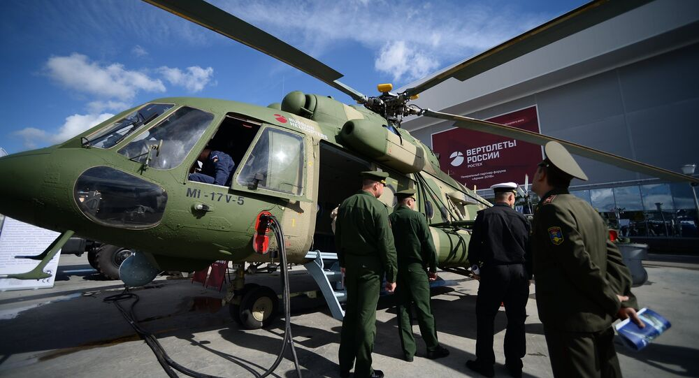 A Mi-17V-5 multipurpose helicopter displayed during the international military-technical forum ARMY-2016 at the Patriot Congress and Exhibition Center in the Military Patriotic Park of Culture and Recreation of the Russian Armed Forces, near Moscow