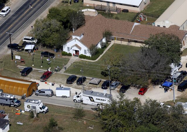 An aerial photo showing the site of a mass shooting at the First Baptist Church of Sutherland Springs, Texas, U.S., November 6, 2017