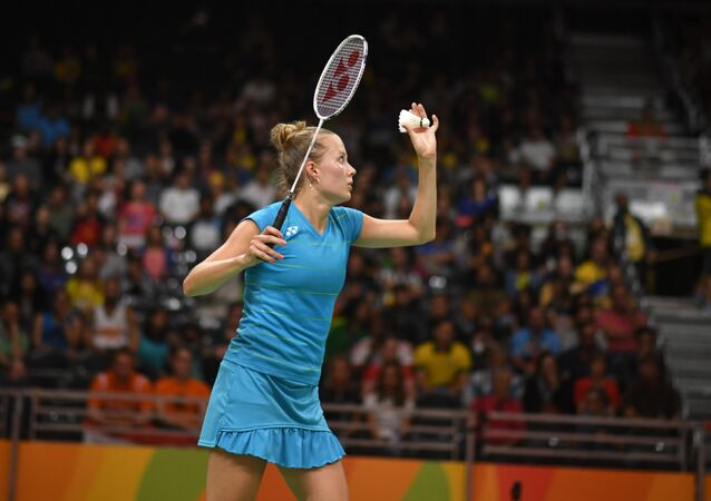 Finland's Nanna Vainio returns to Denmark's Line Kjaersfeldt during their women's singles qualifying badminton match at the Riocentro stadium in Rio de Janeiro on August 12, 2016, at the Rio 2016 Olympic Games