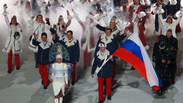 Russia's national team's flag-bearer Alexander Zubkov during the parade of athletes and members of national delegations at the opening ceremony of the XXII Olympic Winter Games in Sochi. (File) - Sputnik International