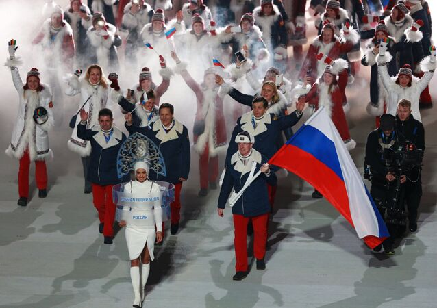 Russia's national team's flag-bearer Alexander Zubkov during the parade of athletes and members of national delegations at the opening ceremony of the XXII Olympic Winter Games in Sochi. (File)