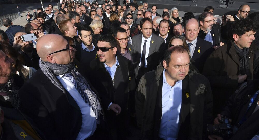 Catalan mayors arrive outside the European Commission headquarters in support of the ousted Catalan government in Brussels, Belgium