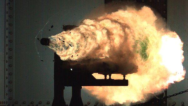 Record-setting firing of an electromagnetic railgun (EMRG). (File) - Sputnik International