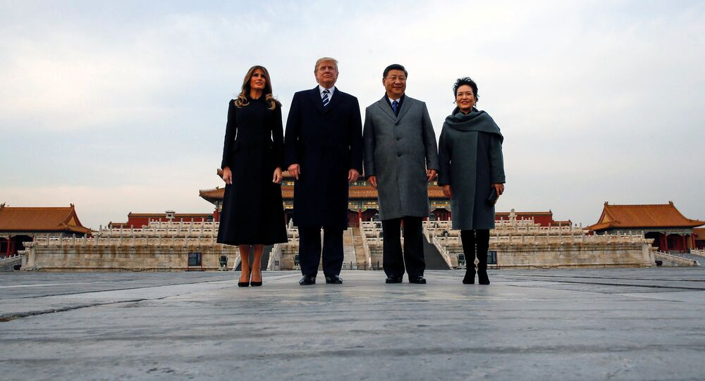 U.S. President Donald Trump and U.S. first lady Melania visit the Forbidden City with China's President Xi Jinping and China's First Lady Peng Liyuan in Beijing, China, November 8, 2017