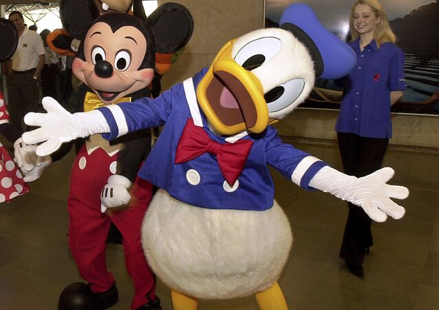 Disney cartoon characters Mickey Mouse and Donald Duck