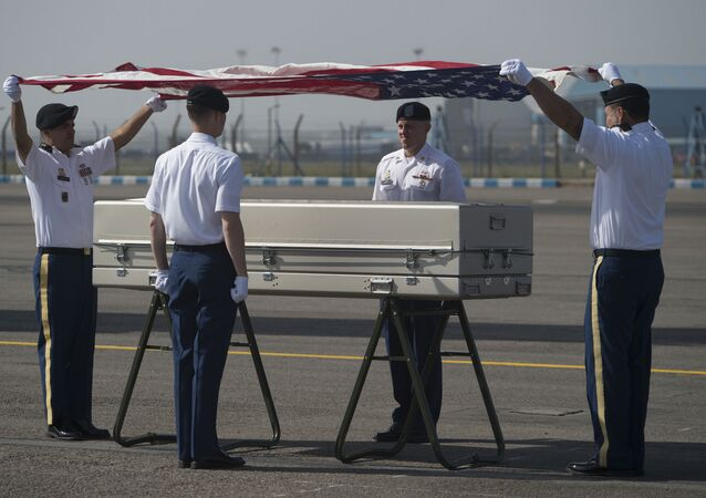 U.S Army Soldiers from the Defense POW/MIA Accounting Agency (DPAA) conduct a repatriation ceremony of possible American remains in New Delhi, India, Apr. 13, 2016