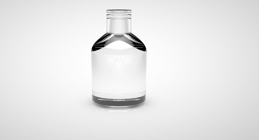 A small glass bottle