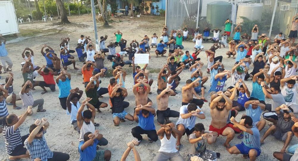 Asylum seekers protest on Manus Island, Papua New Guinea, in this picture taken from social media November 6, 2017.