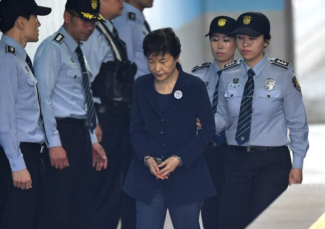 Former South Korean President Park Geun-Hye arriving at a court in Seoul. (File)