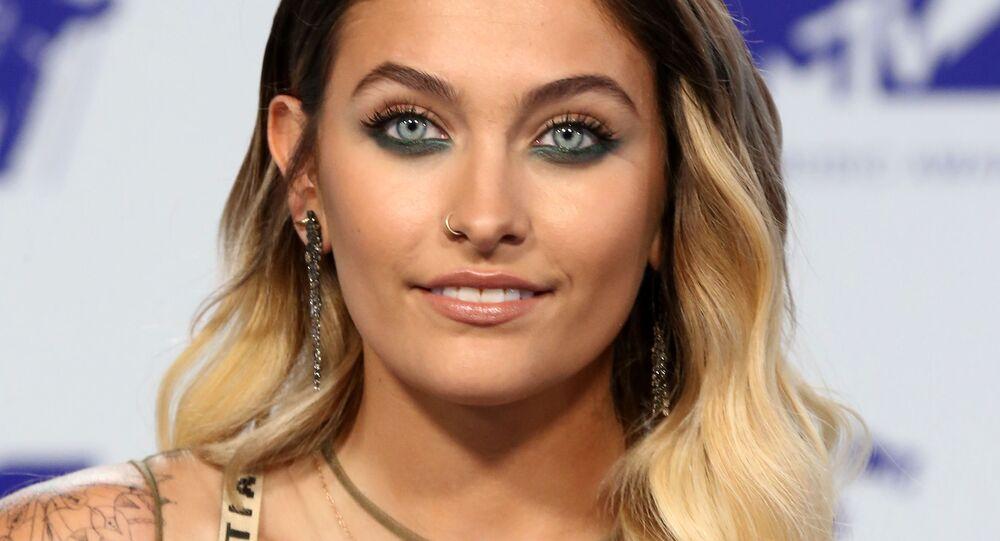 Model Paris Jackson arrives at the MTV Video Music Awards 2017, In Inglewood, California