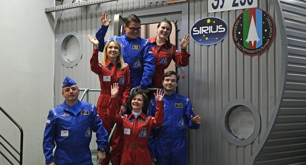 Members of the experiment to simulate the SIRIUS-17 lunar expedition in Moscow, from left: Mark Serov, Natalya Lysova, Viktor Fetter (Germany), Yelena Luchitskaya, Anna Kikina and Ilya Rukavishnikov