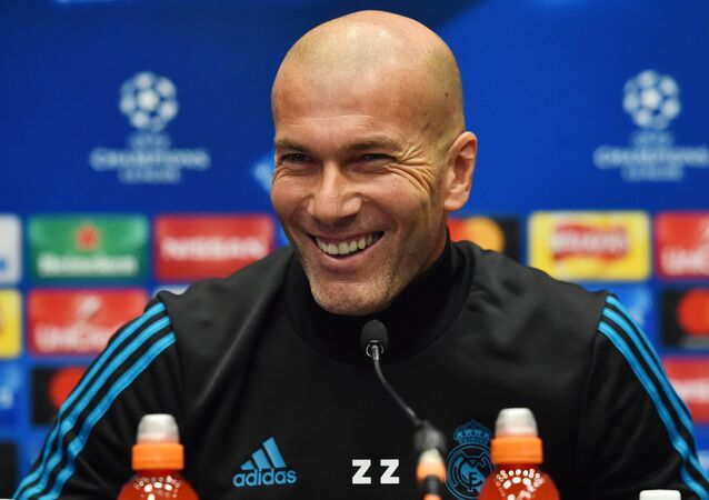 Real Madrid's French coach Zinedine Zidane attends a press conference at Wembley Stadium, in north London, on October 31, 2017