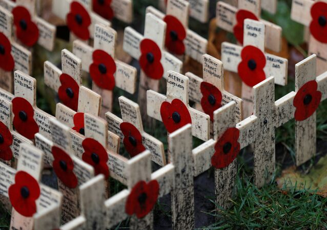 Wooden crosses adorned with poppies are laid out in the Field of Remembrance in London, Britain November 11, 2017