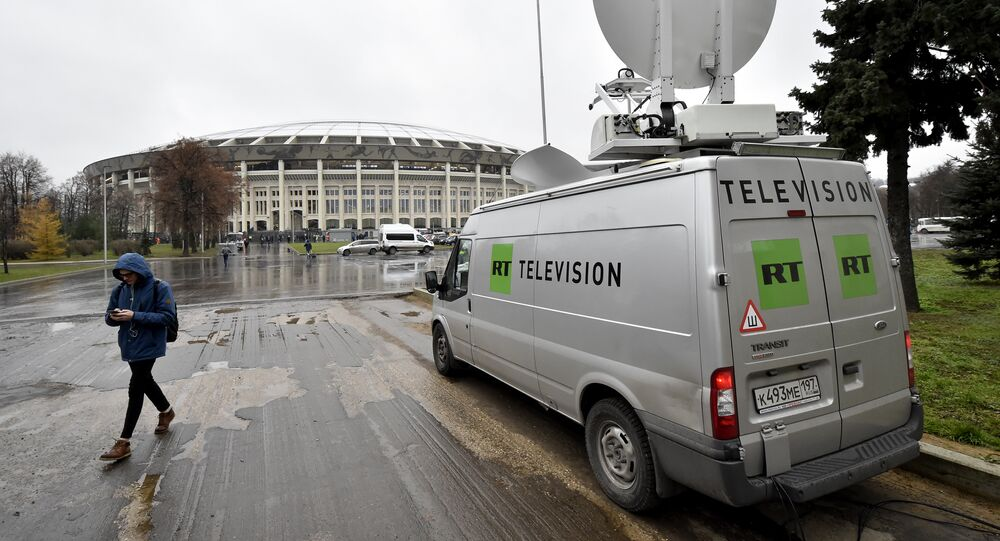 A Russia's Russia Today (RT) television broadcast van is seen parked outside the Luzhniki stadium ahead of an international friendly football match between Russia and Argentina in Moscow on November 11, 2017