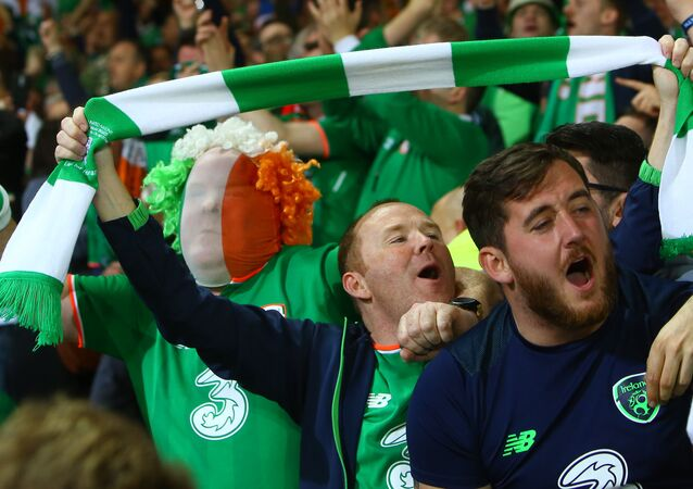 Republic of Ireland fans celebrate victory after the group D World Cup qualifying football match between Wales and Republic of Ireland at Cardiff City Stadium in Cardiff on October 10, 2017