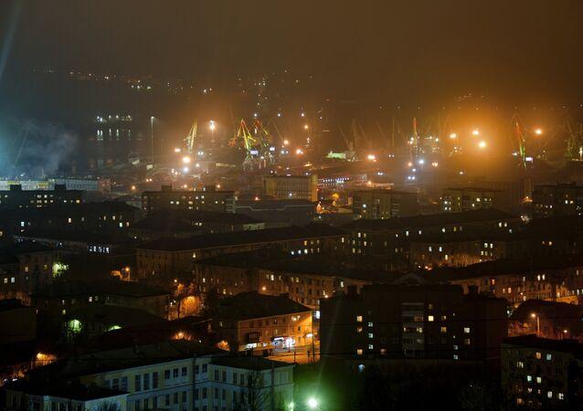 Murmansk at night