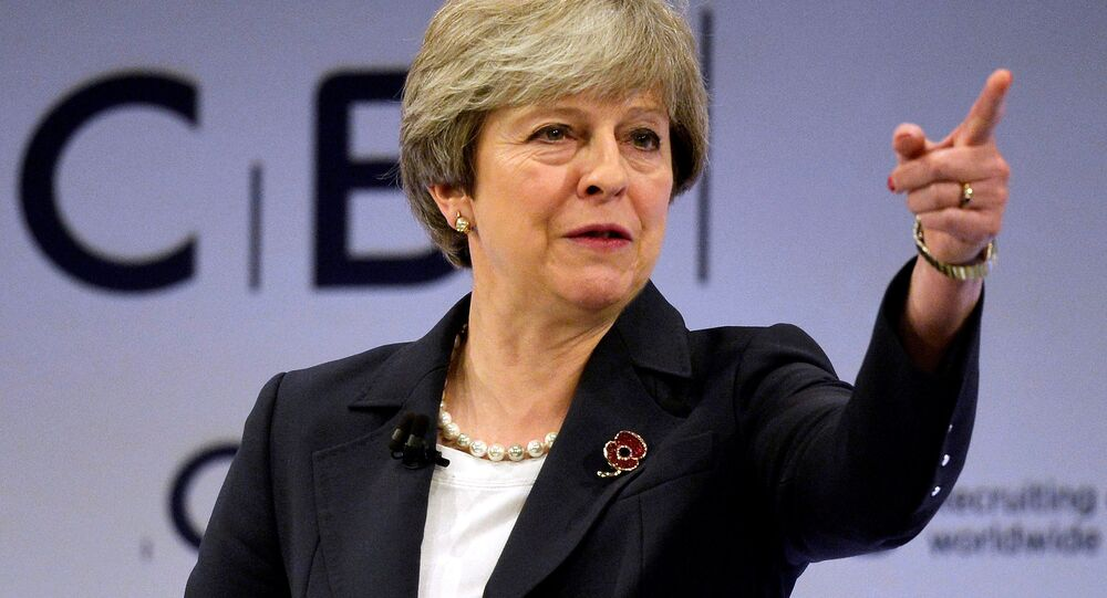 Britain's Prime Minister Theresa May speaks at the Conferederation of British Industry's annual conference in London, Britain, November 6, 2017