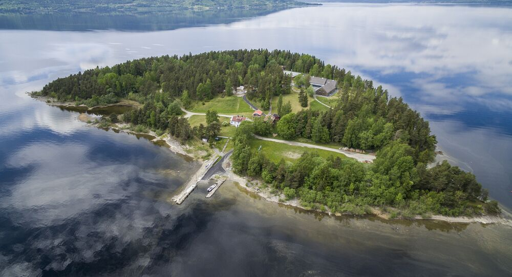 Aerial view of the island Utoya on May 31, 2017 where far-right extremist Anders Behring Breivik killed 69 people back in July 2011