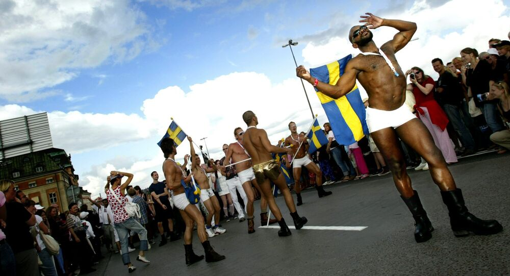 Unidentified participants enjoy the annual Gay Pride Parade as it makes its way through central Stockholm, Sweden (File)