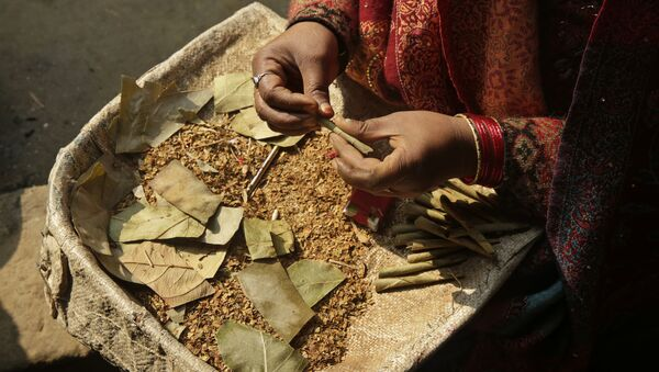 An Indian woman rolls bidis, or shredded tobacco hand-rolled, at a cottage industry on the outskirts of Allahabad, India, Tuesday, Jan. 17, 2017 - Sputnik International