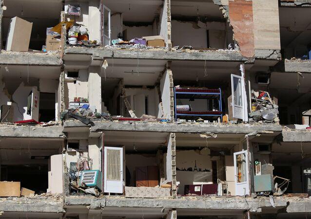 A damaged building is seen following an earthquake in Sarpol-e Zahab county in Kermanshah, Iran