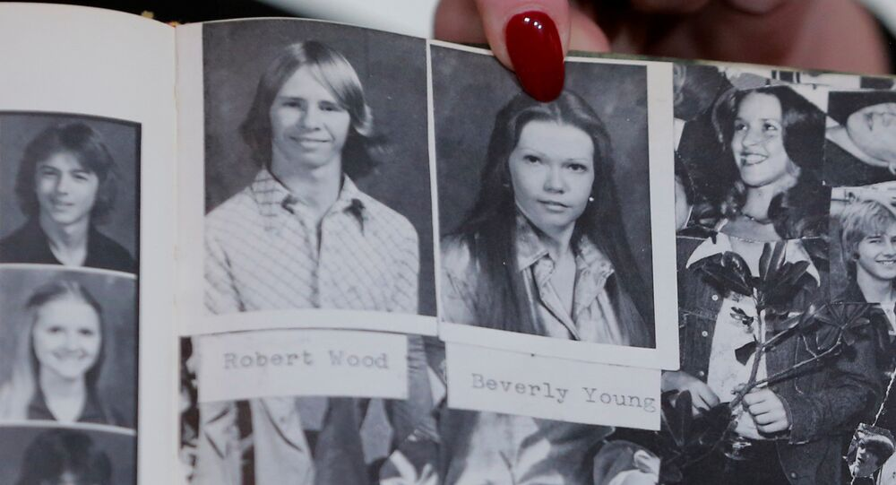 Accuser Beverly Young Nelson points to a photograph of herself in her high school yearbook after making a statement claiming that Alabama senate candidate Roy Moore sexually harassed her when she was 16, in New York, U.S., November 13, 2017