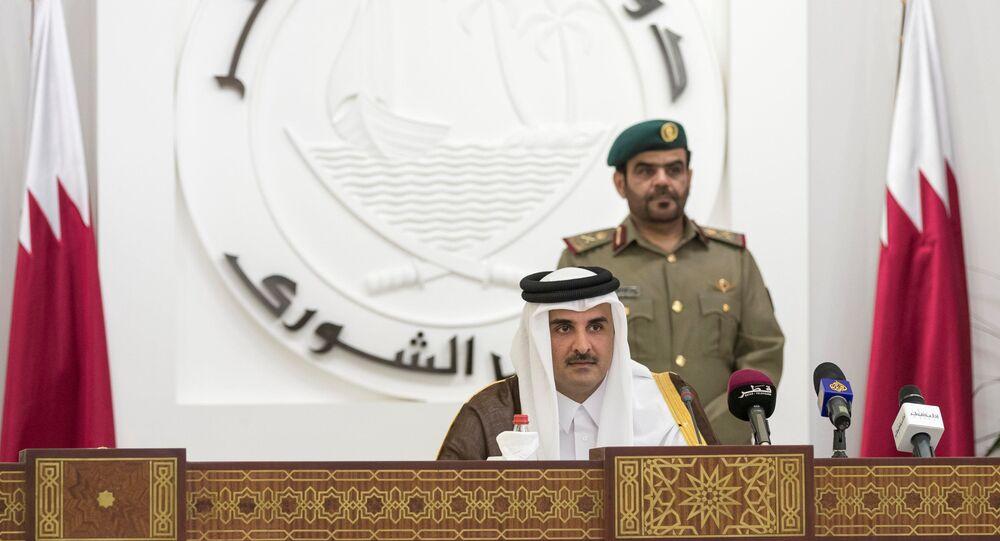 QatarÕs Emir Sheikh Tamim bin Hamad al-Thani is seen as he speaks to members of Qatar's Shoura Council in Doha, Qatar