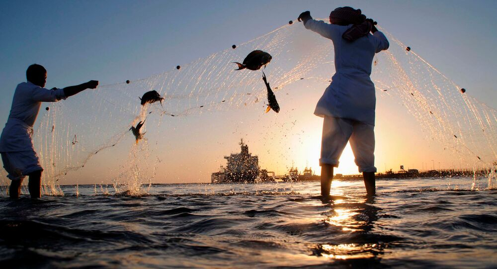 Fishermen check their nets for the day's catch as an oil tanker is seen in the distance near the port in the north-western city of Dubai (File)