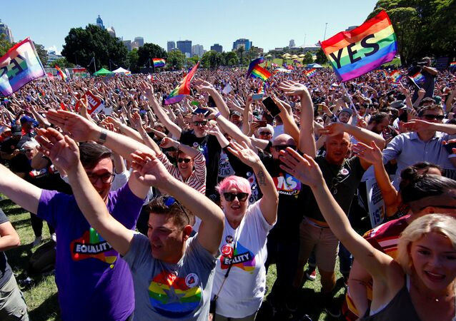 Supporters of the 'Yes' vote for marriage equality celebrate after it was announced the majority of Australians support same-sex marriage in a national survey, paving the way for legislation to make the country the 26th nation to formalise the unions by the end of the year, at a rally in central Sydney, Australia, November 15, 2017