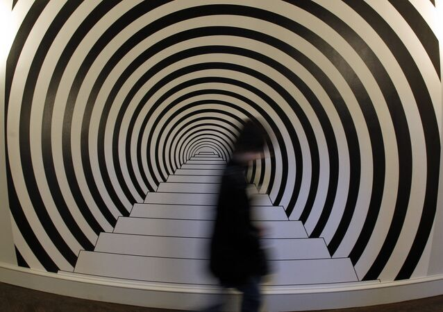 A visitor walk along the piece of art Down The Rabbit Hole by desigher Rasch on February 2, 2012 at Arts Decoratifs museum in Paris, during the exhibition Trompe l'Oeil, an art technique involving extremely realistic imagery in order to create the optical illusion, that the depicted objects appear in three dimensions