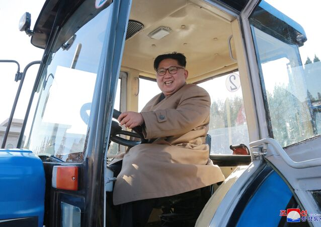 North Korean leader Kim Jong Un gives field guidance to the Kumsong Tractor Factory in Pyongyang