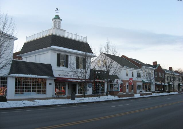 Buildings on the western side of the 600 block of High Street (U.S. Route 23) in downtown Worthington, Ohio, US