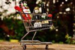 Spirits bottles in a shopping cart