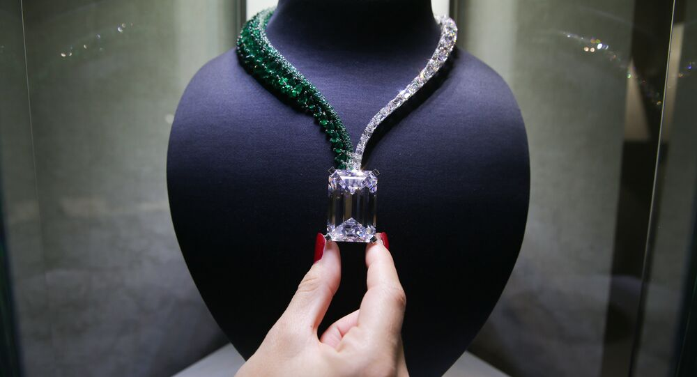 A necklace, known as Creation I, featuring a 163.41 carat D-Colour Flawless diamond, and created by Swiss jewellers de GRISOGONO, is pictured during a photocall.