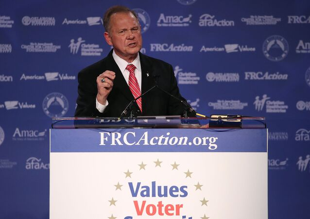 Roy Moore, GOP Senate candidate and former chief justice on the Alabama Supreme Court speaking during the annual Family Research Council's Values Voter Summit at the Omni Shorham Hotel in Washington, DC