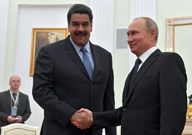 October 4, 2017. Russian President Vladimir Putin and President of the Bolivarian Republic of Venezuela Nicolas Maduro, left, during a meeting.