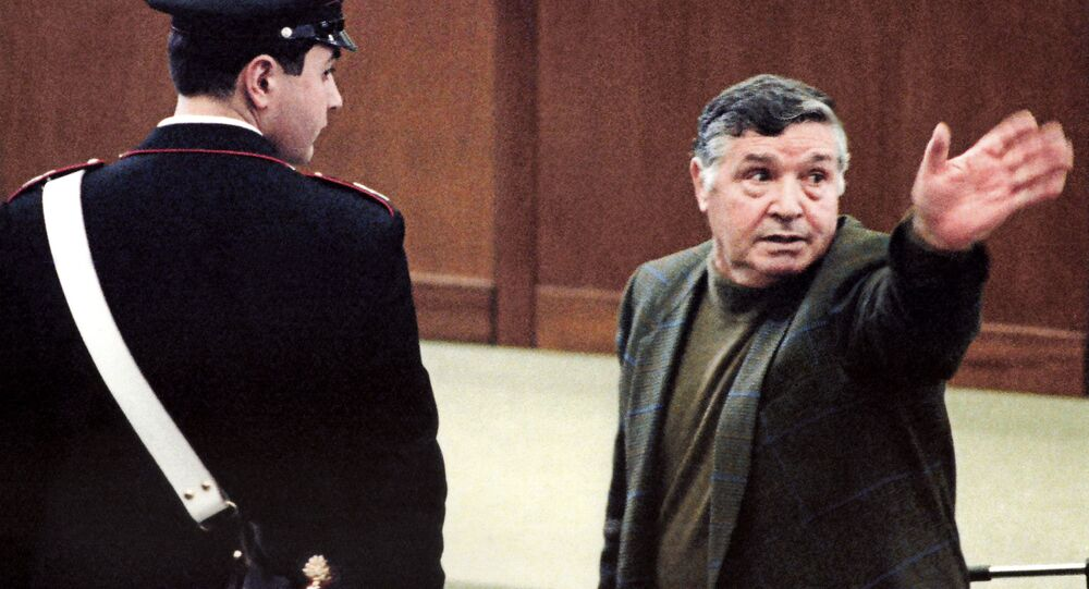 A picture taken on March 8, 1993 shows mafia boss Salvatore Toto Riina during his trial at the high security prison Ucciardone in Palermo.
