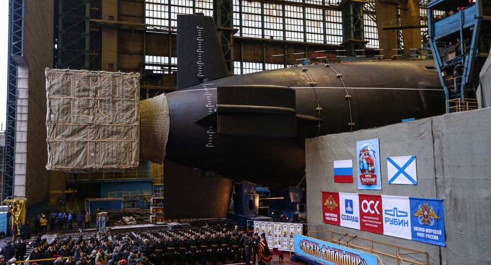 Launching Knyaz Vladimir nuclear-powered submarine cruiser in Severodvinsk