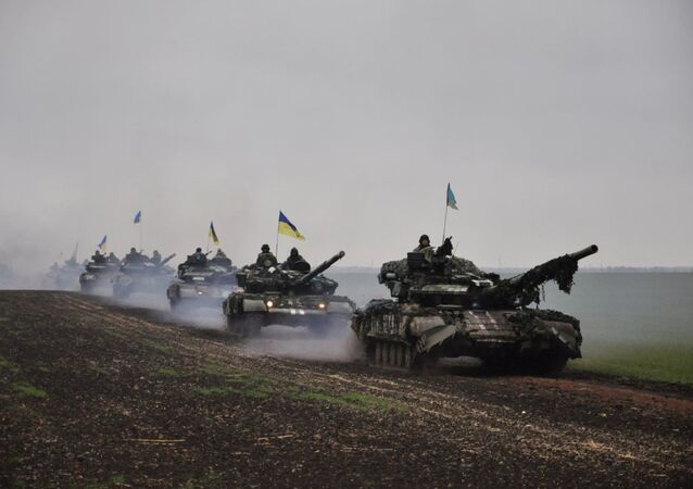 Ukrainian tanks on the march